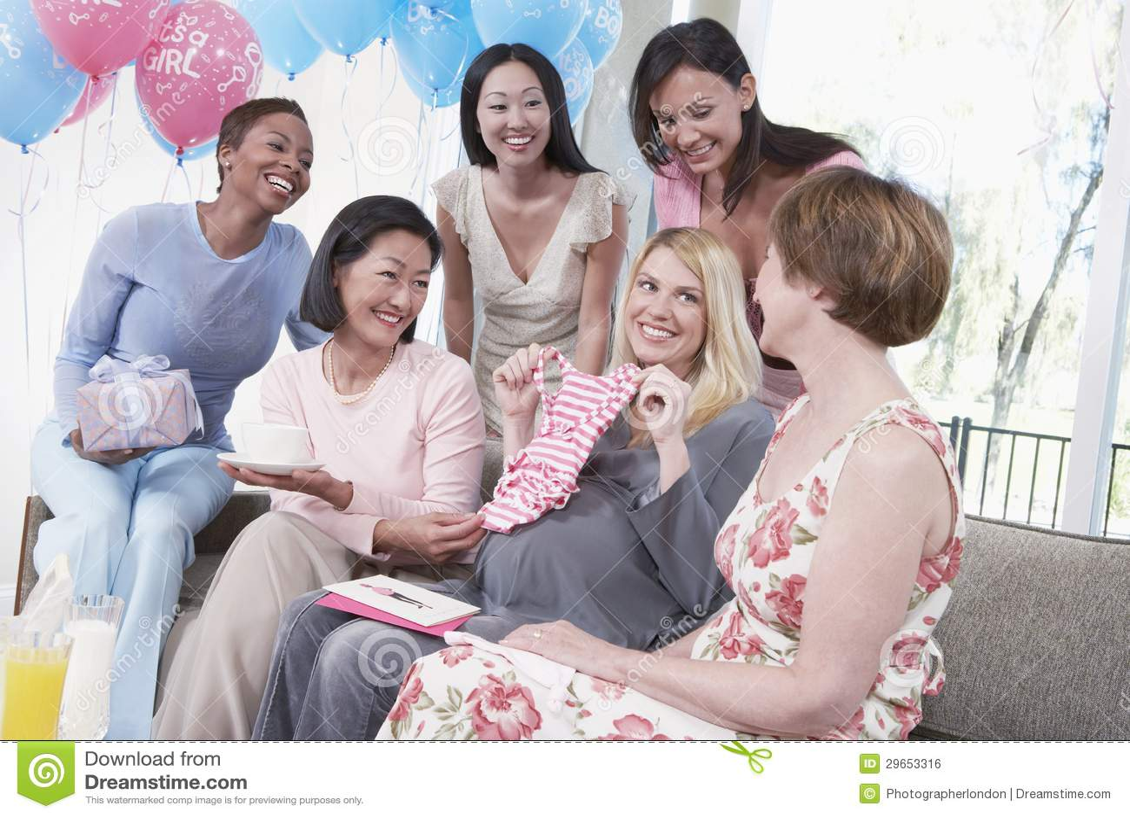 Female Friends Attending Baby Shower Stock Photo Image Of Group Hispanic 29653316