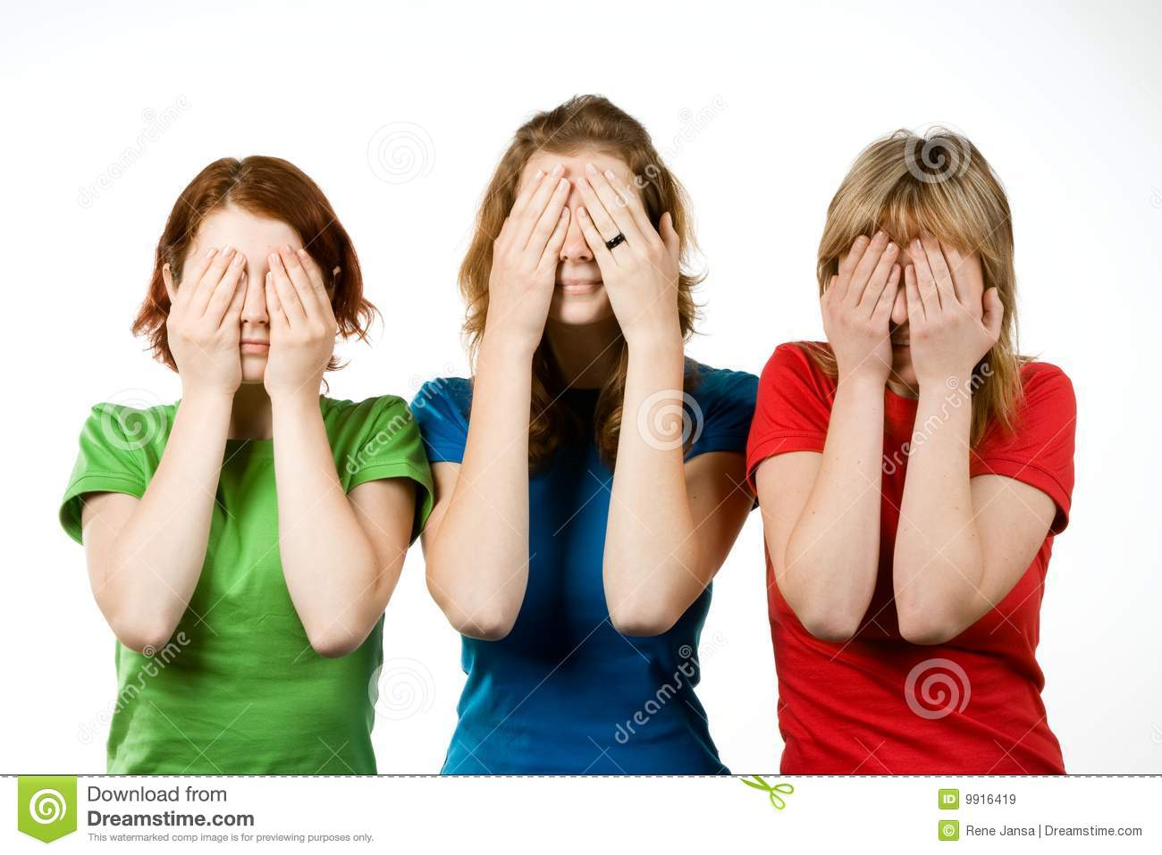 Female friends covering eyes