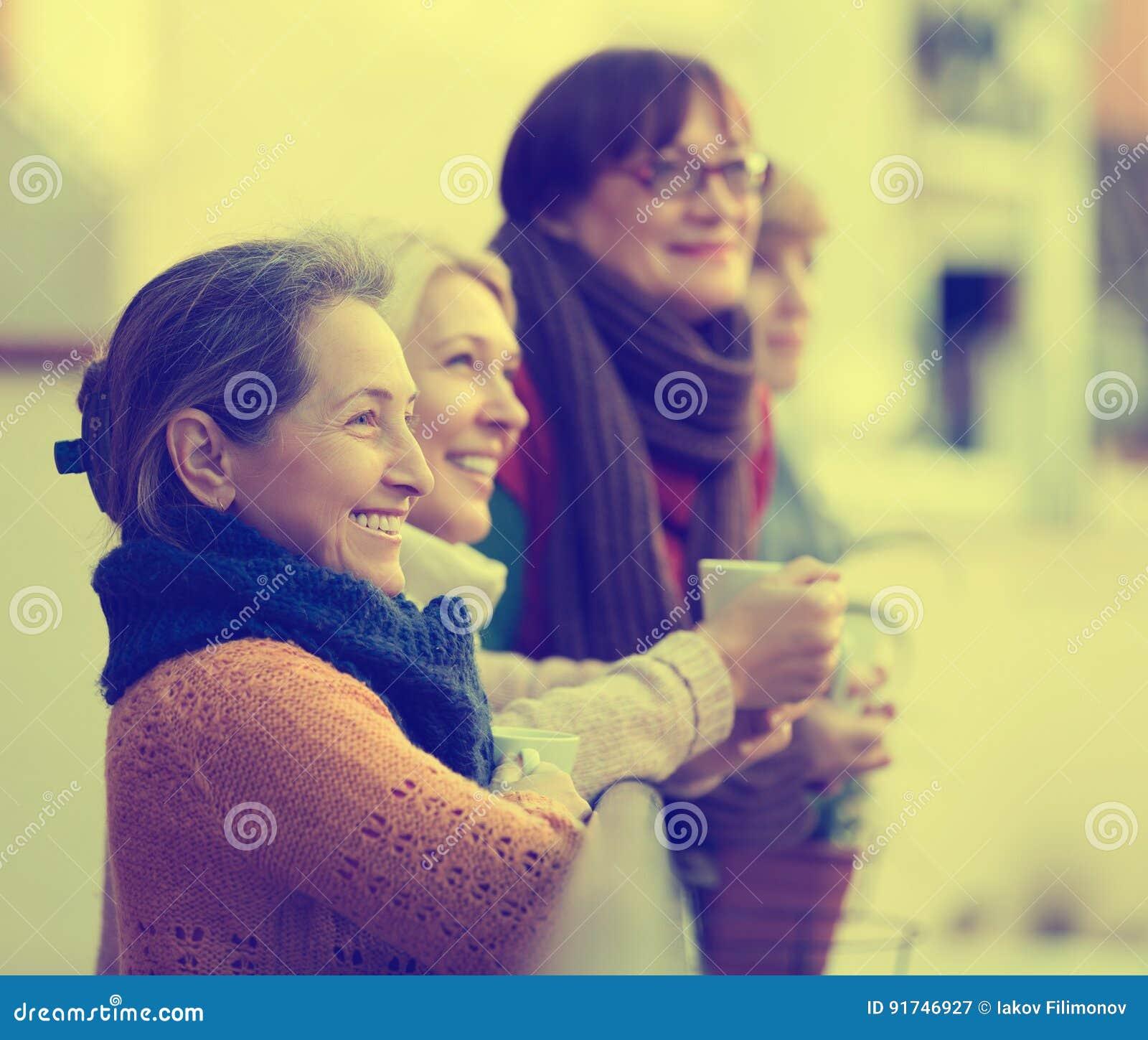 Female friends on summer terrace