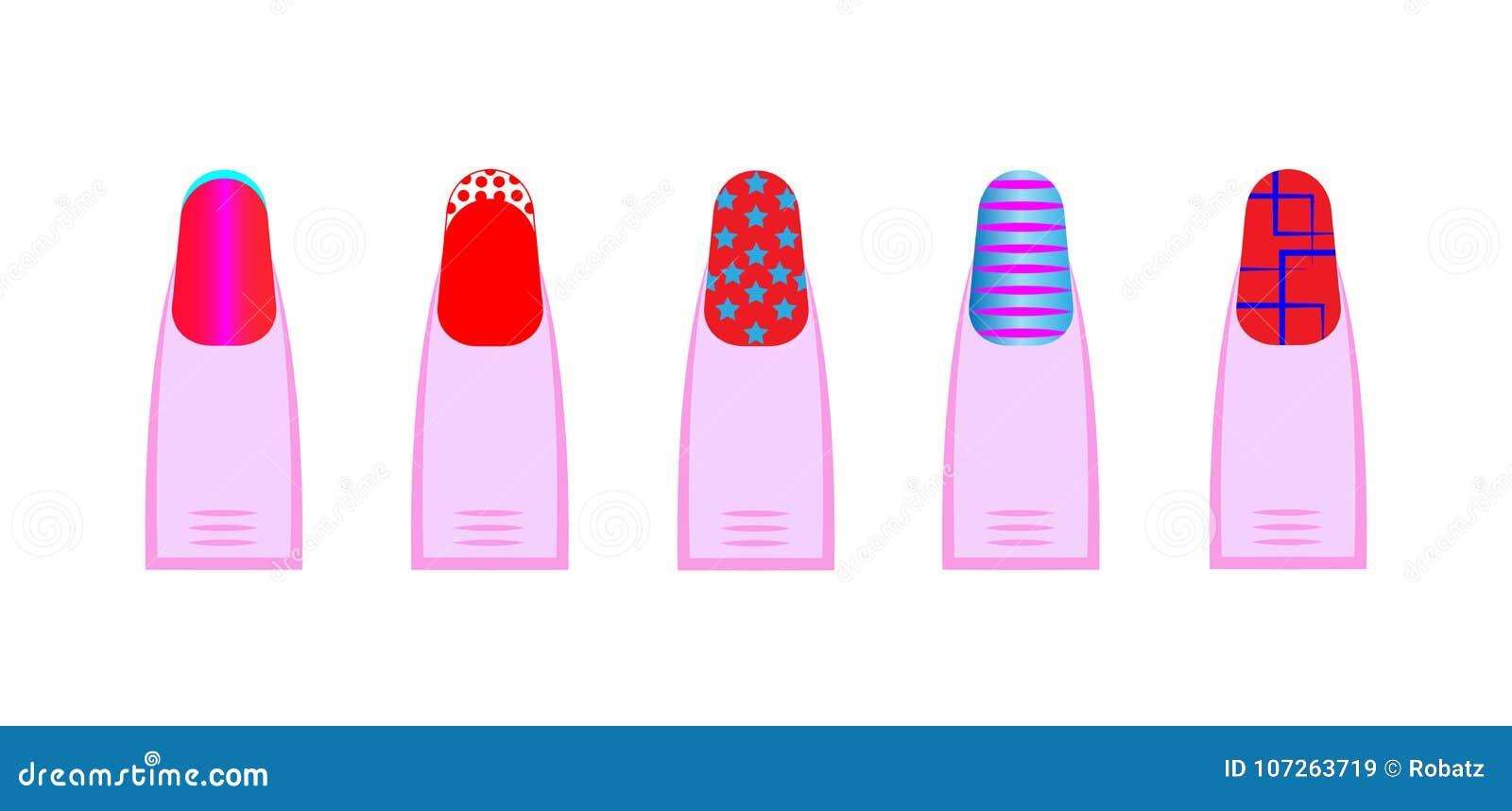 Female gel manicure, Vector set of different nails shape, manicure style. Beauty spa salon illustration with colorful fingernails