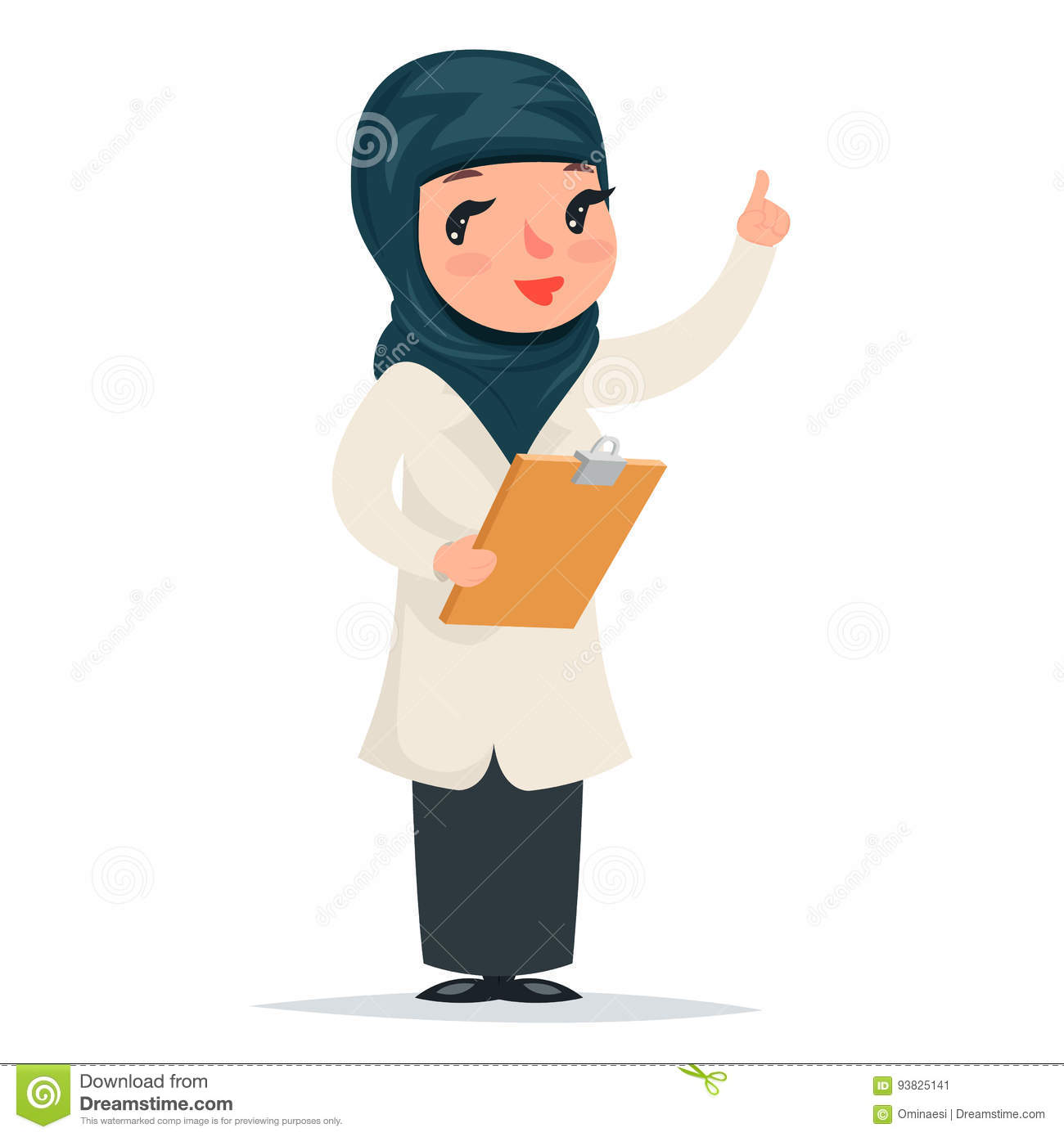 Female Girl Cute Arab Doctor with Clipboard in Hands Forefinger up Advice Preaching Admonition Character Icon