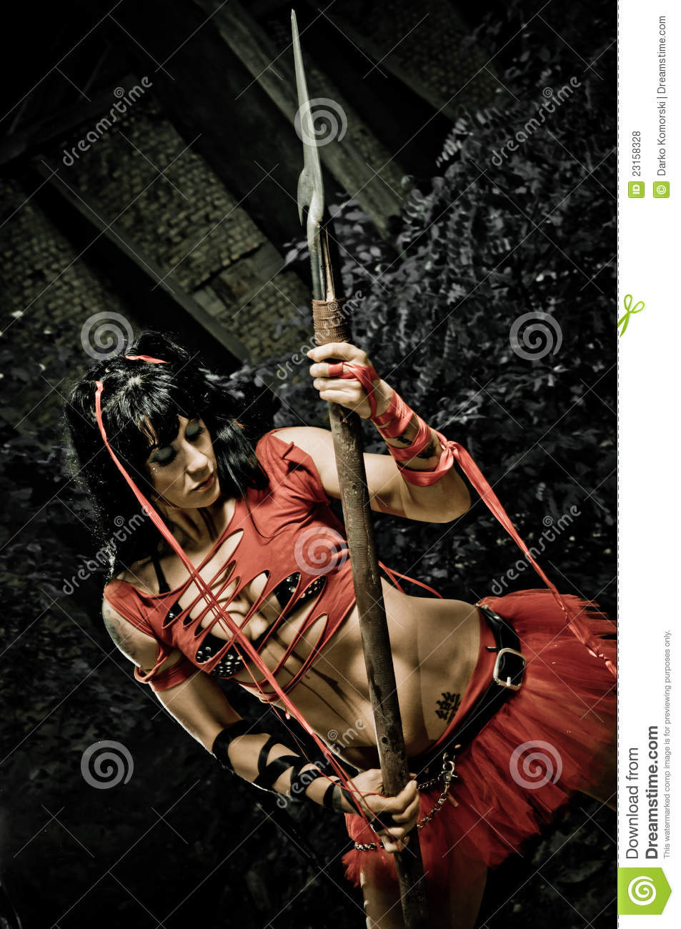 female gladiator with spear royalty free stock photos