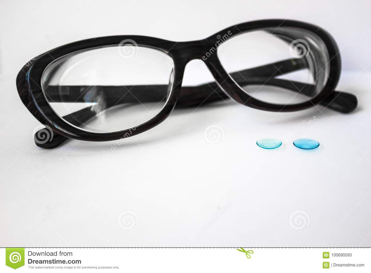 eb9e83d8422 Female Glasses And Contact Lenses. Stock Image - Image of collation ...