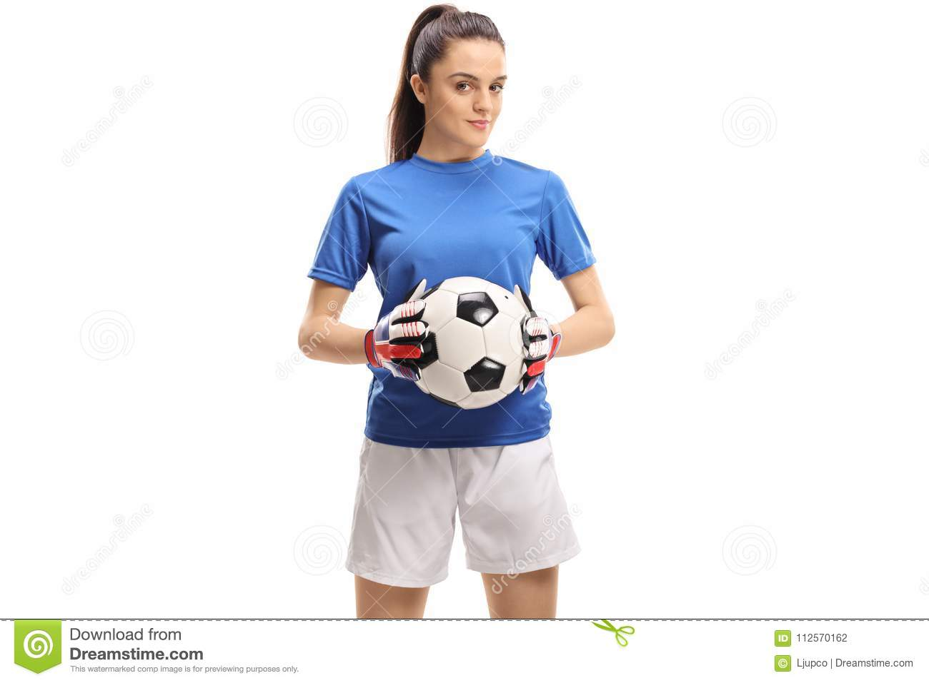 Female Goalkeeper Holding A Football Stock Photo - Image of gear ... 55396c4c56