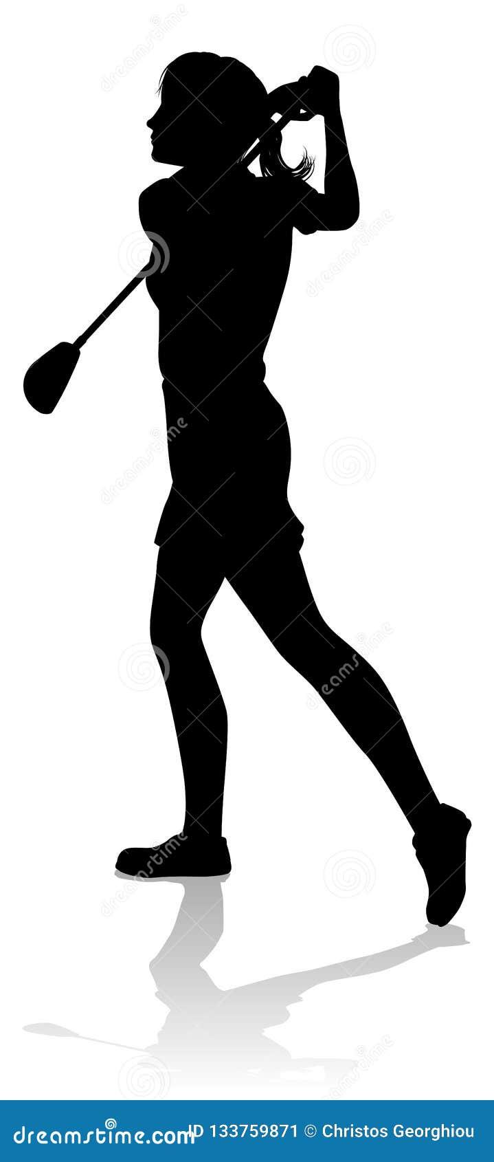 Female Golfer Silhouette Stock Illustrations 168 Female Golfer