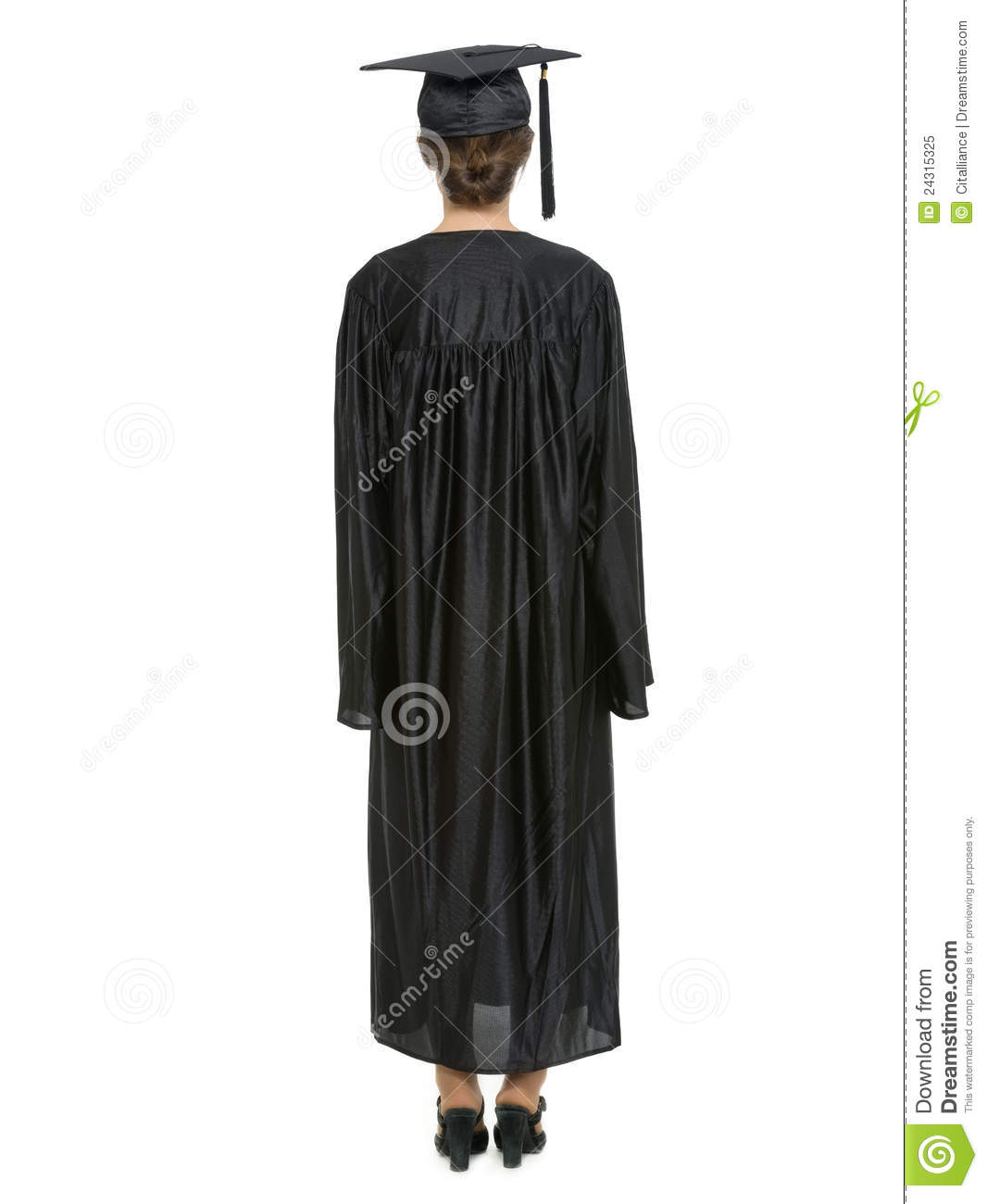 Female In Graduation Cap And Gown Standing Back Stock Image - Image ...