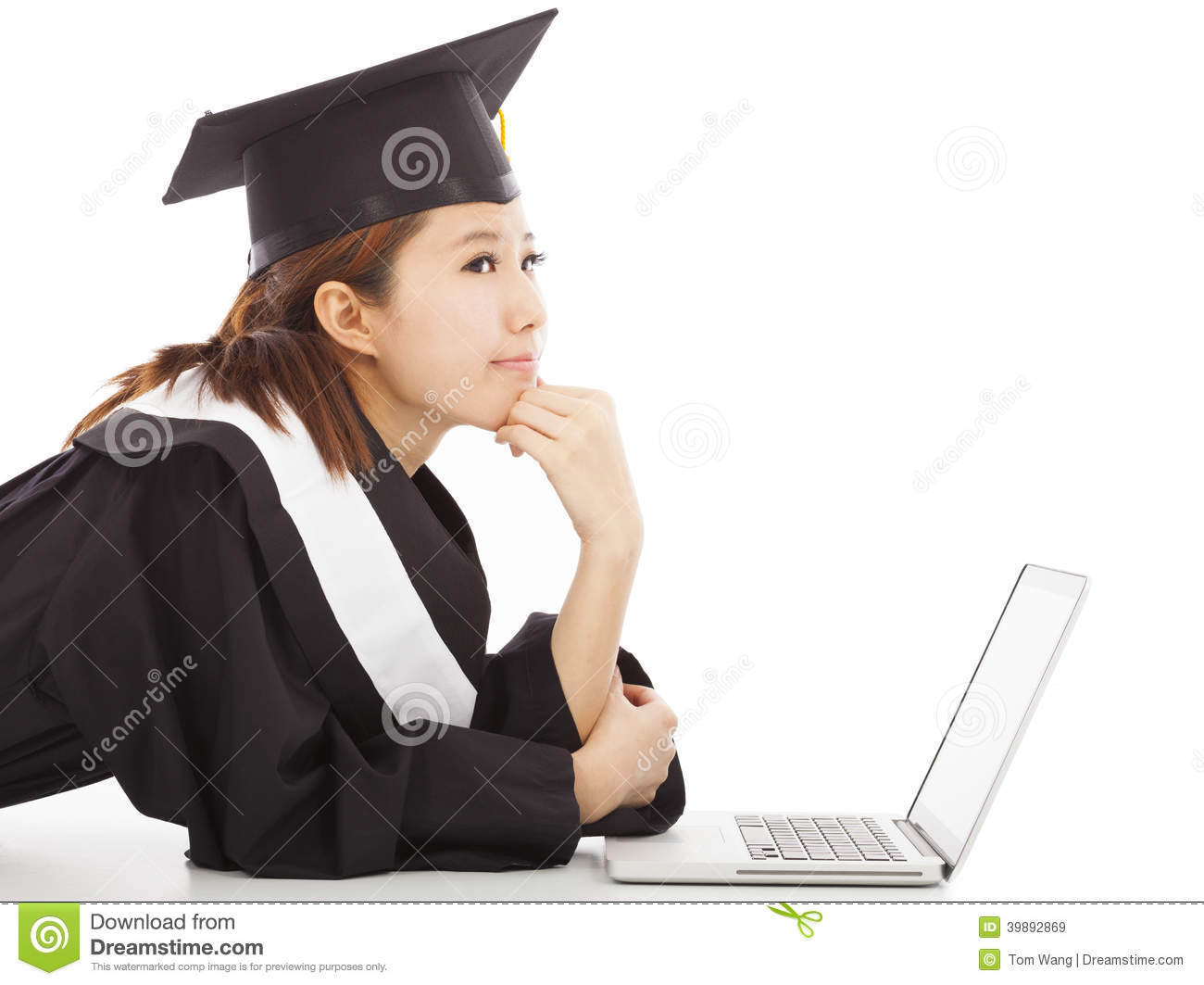 female graduation thinking about career or job stock photo image female graduation thinking about career or job