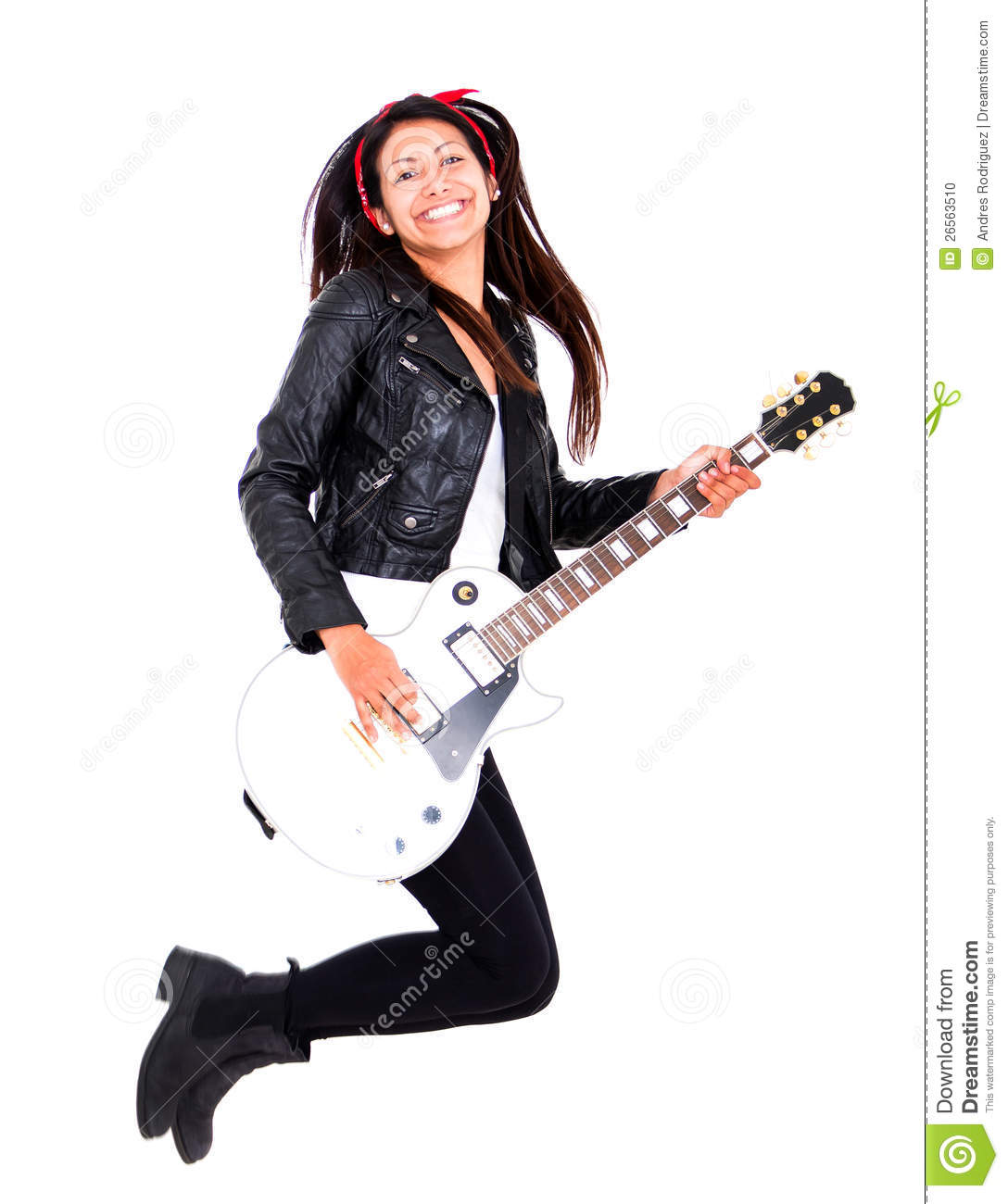 Female guitar player jumping - isolated over a white background.