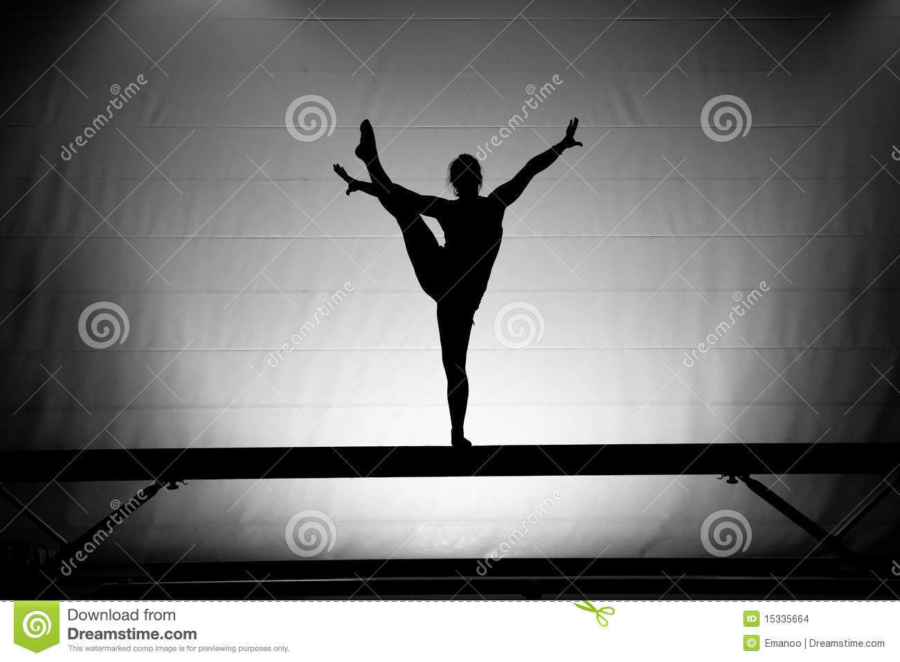 Female Gymnast On Balance Beam Stock Photo Image Of