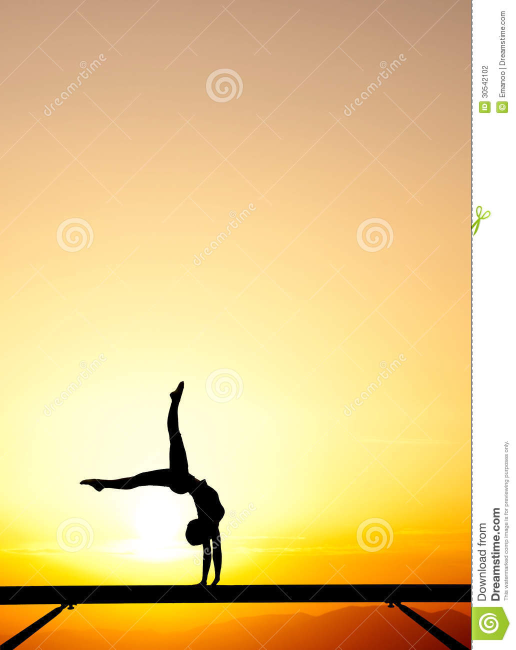 Female Gymnast On Balance Beam In Sunset Stock Photo