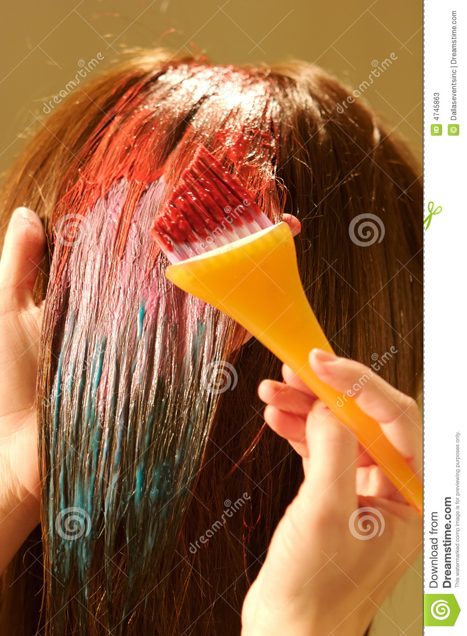 Pretty Color To Dye Your Hair: Female Hair Coloring At A Salon Stock Photos