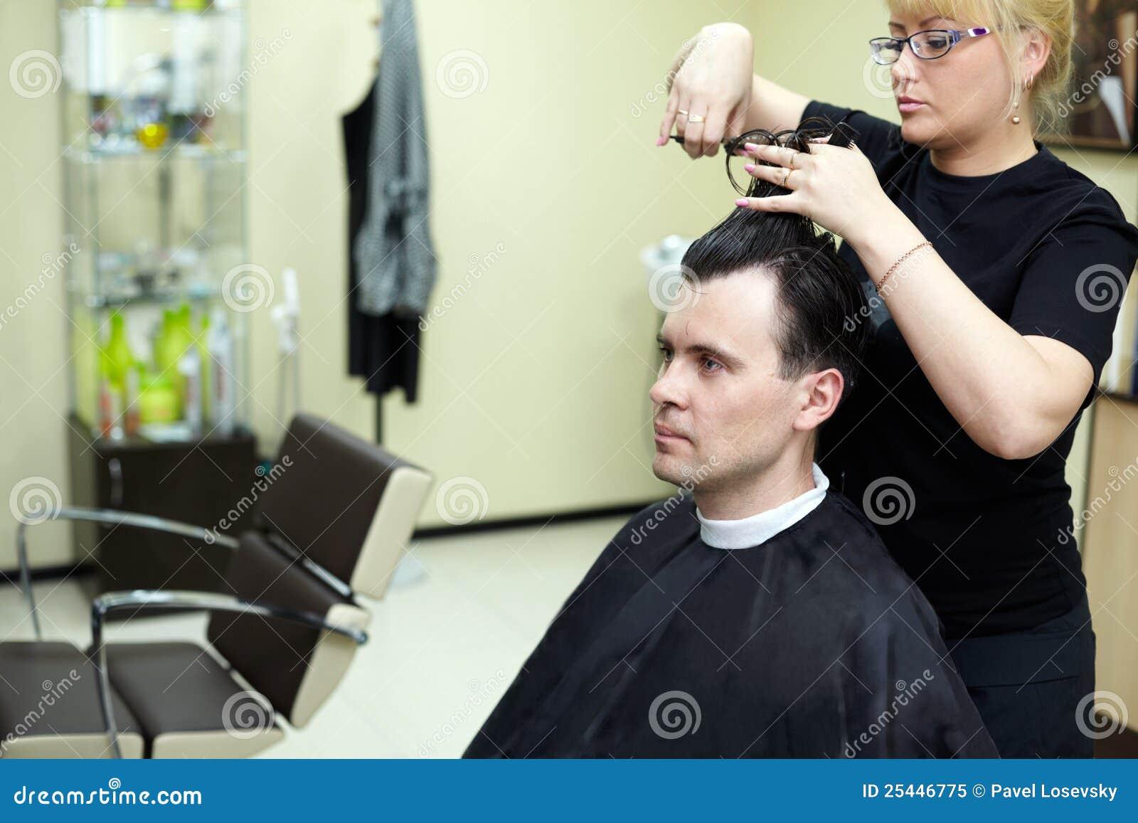 Female Hairdresser Cuts Man Hair Royalty Free Stock Photo