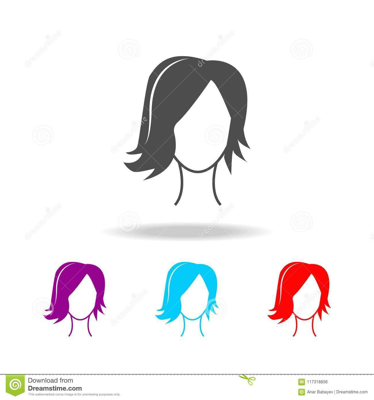 Female Hairstyle Elements Of Barber In Multi Colored Icons Premium