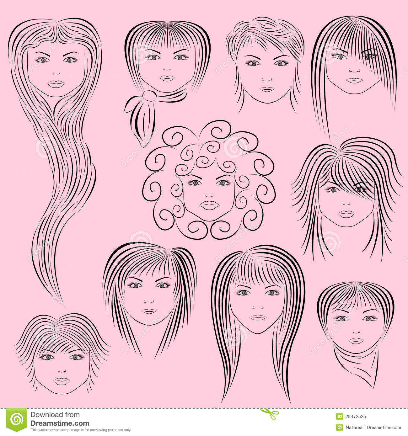 Female Hairstyles Vector Illustration Stock Vector