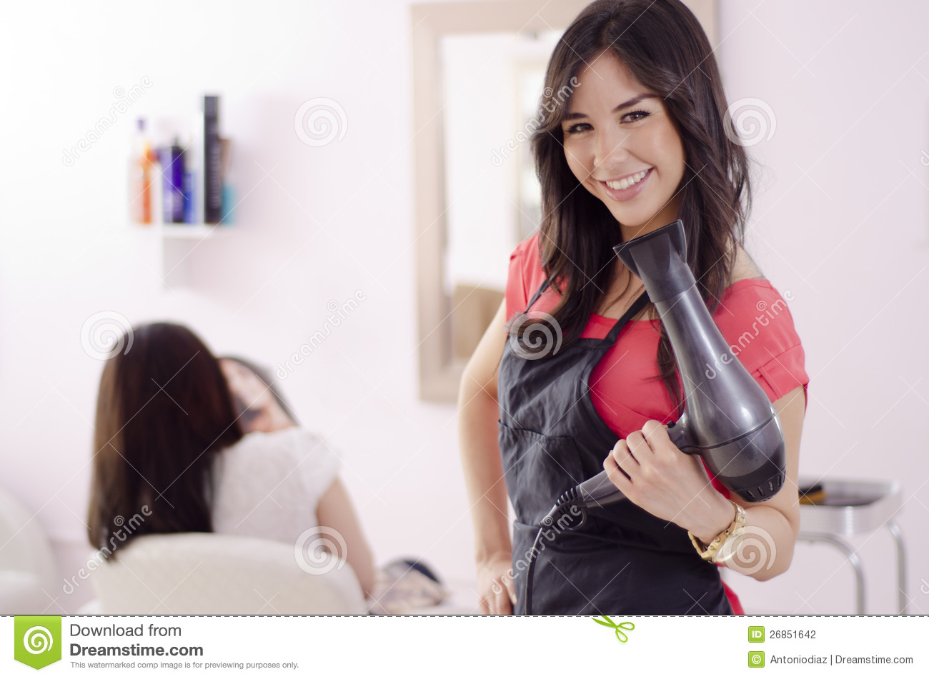 female hairstylist working in a salon stock photo image