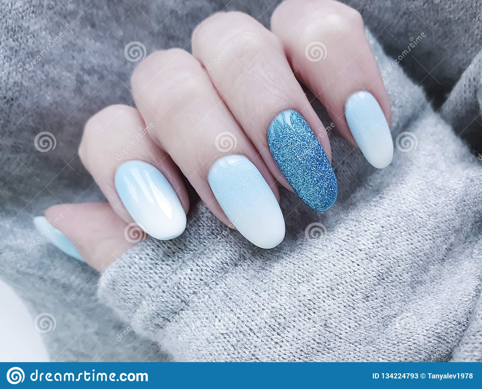 Female Hand Beautiful Fashion Blue Design Stylish Ombre