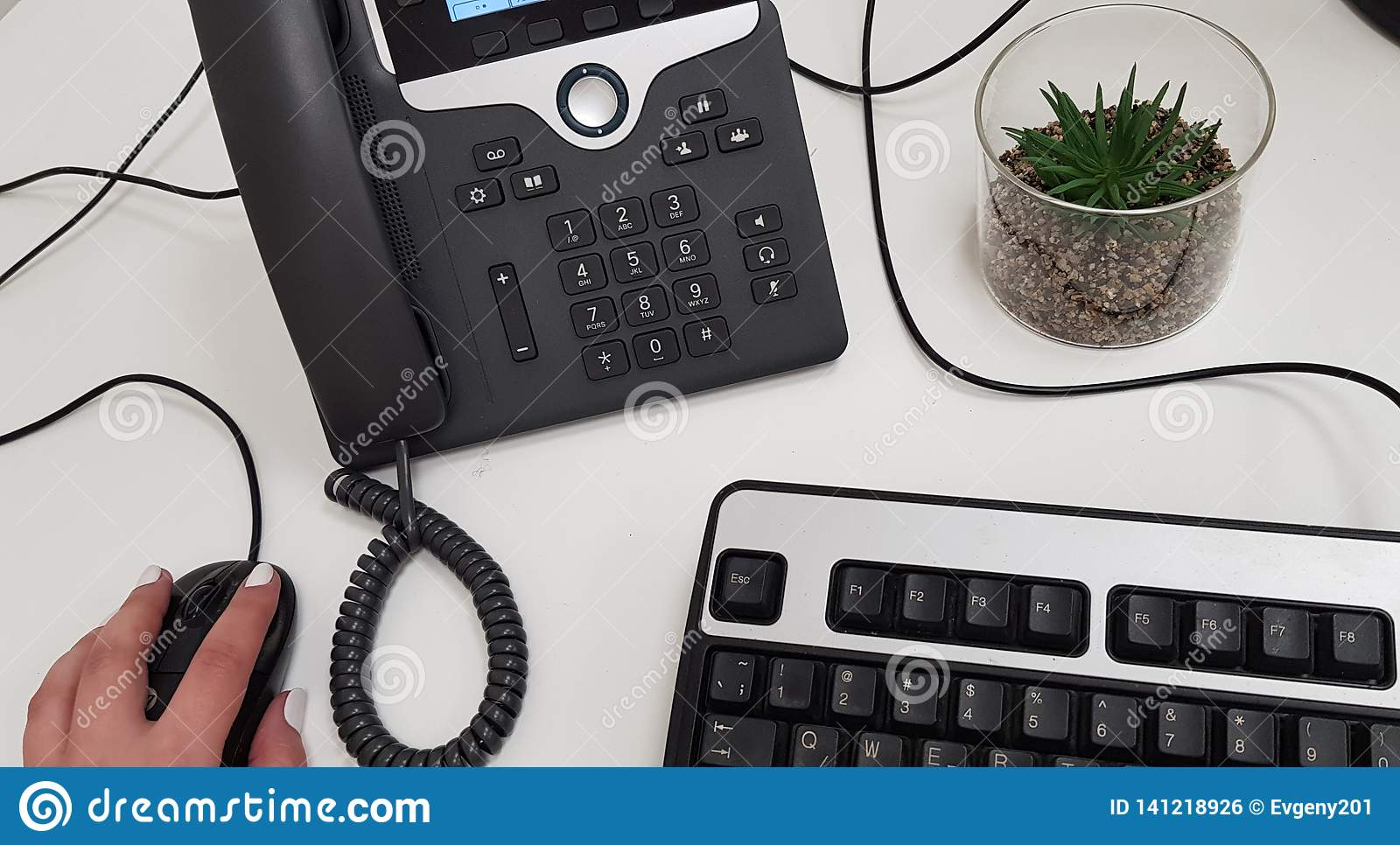 Female hand on black computer mouse near office phone