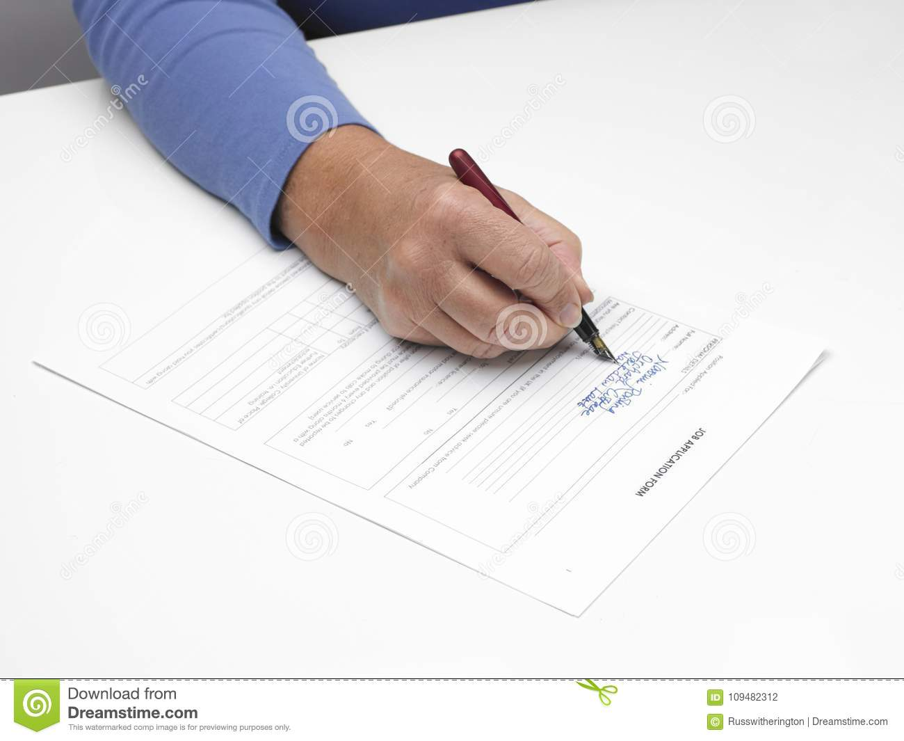 Job Application Form And Hand Stock Photo - Image of gripping ...
