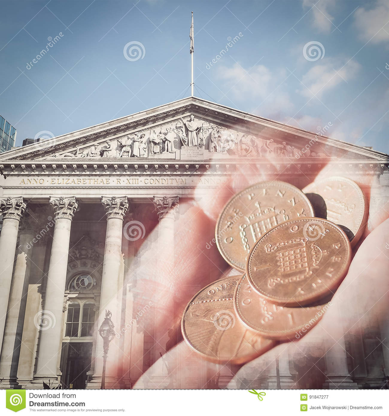 Female Hand Hold Five Pennies On Facade Of The Royal Exchange Ba