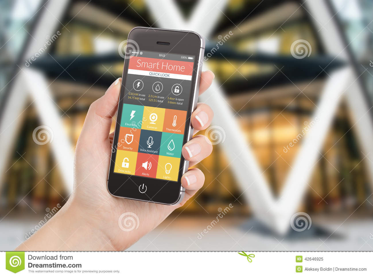 Female Hand Holding Black Smart Phone With Smart Home Applicatio Stock Illustration - Image ...
