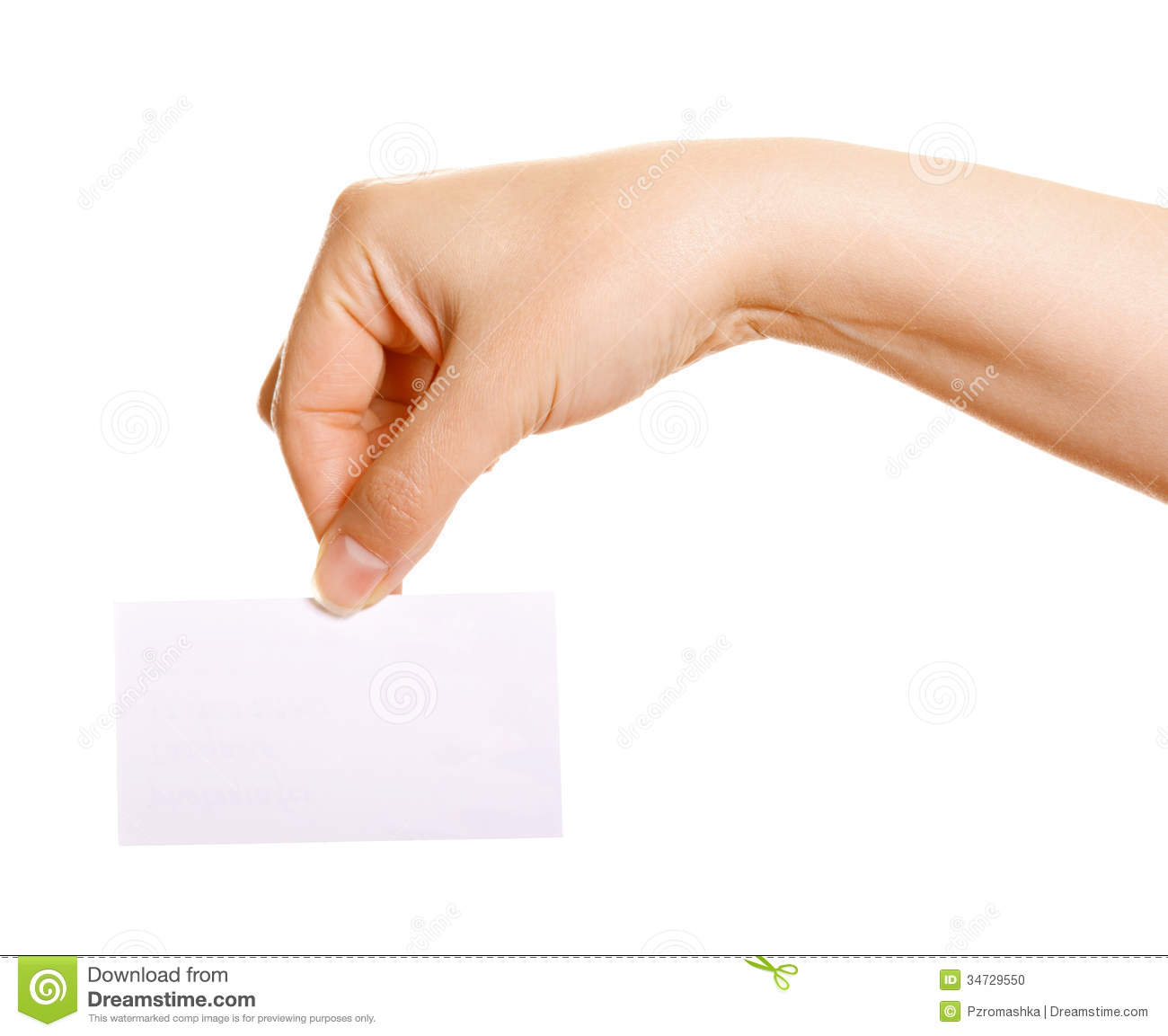 Female Hand Holding A Business Card Stock Photo - Image of ...
