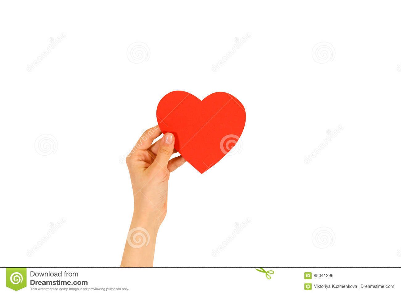Female hand holding empty red Valentines card with heart on a white background