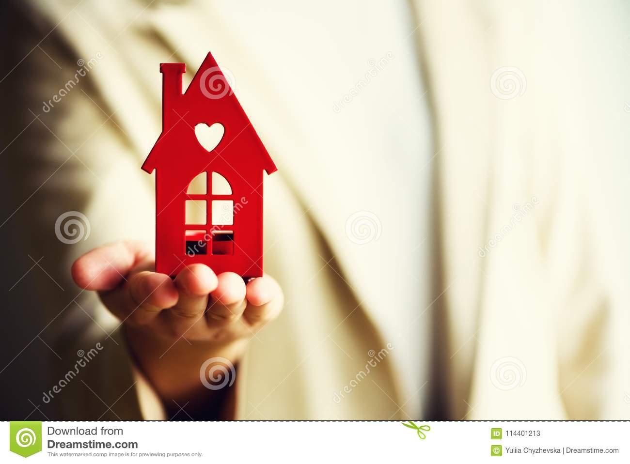 Female Hand Holding House Key, Real Estate Agent  Property Insurance