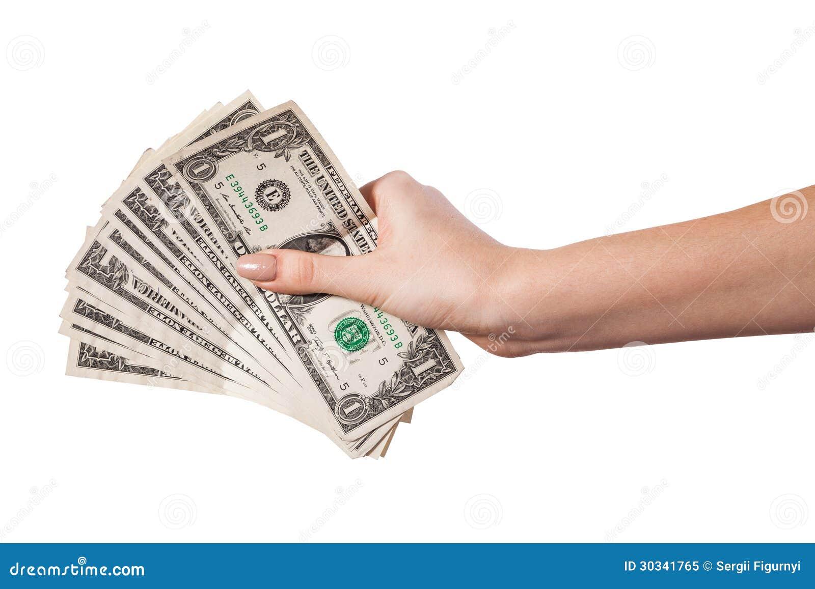 Female Hand Holding Money Dollars Isolated On White ...Holding Money In Hand