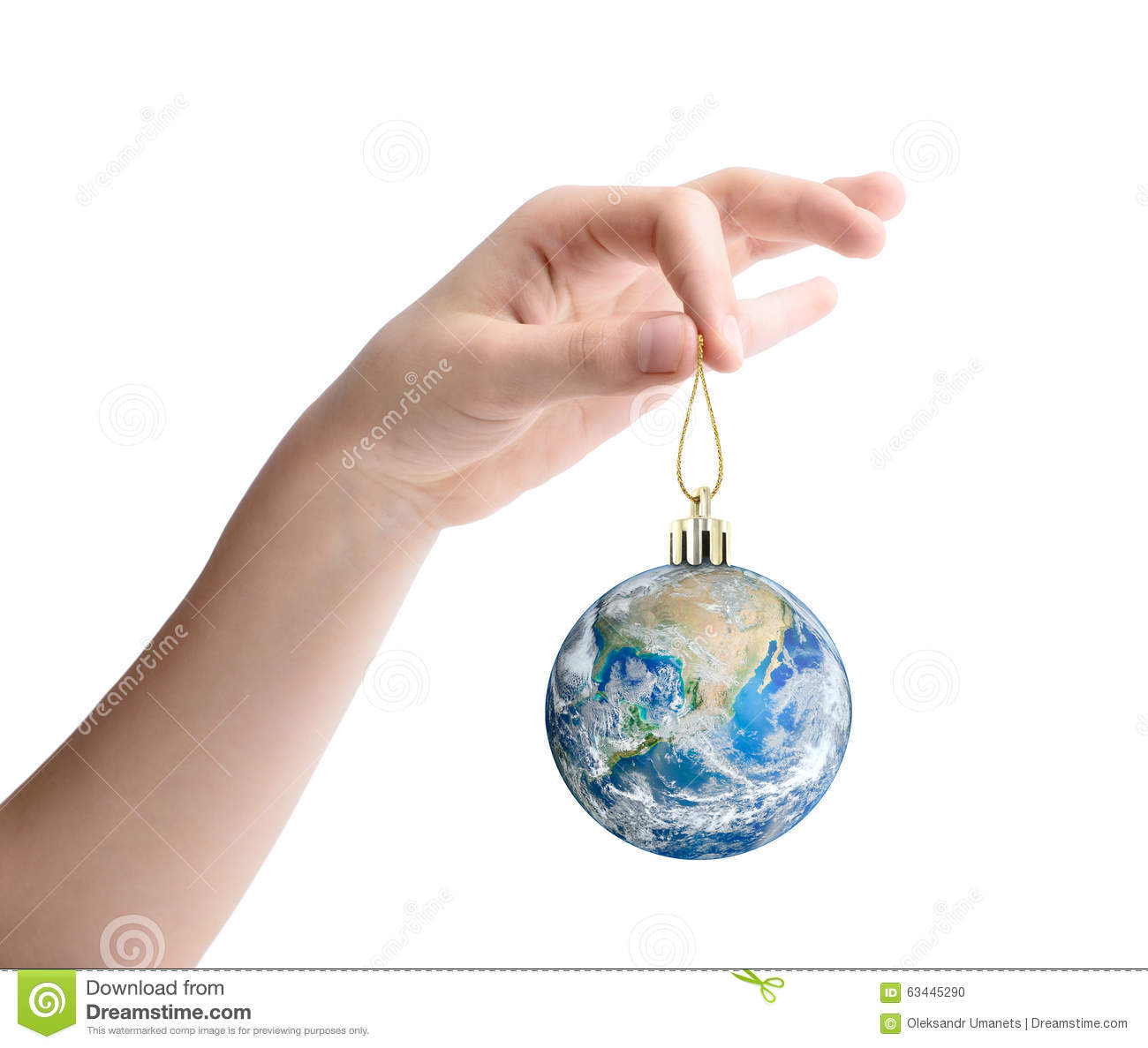 Female hand holding the planet Earth as a Christmas toy. Elements of this image furnished by NASA