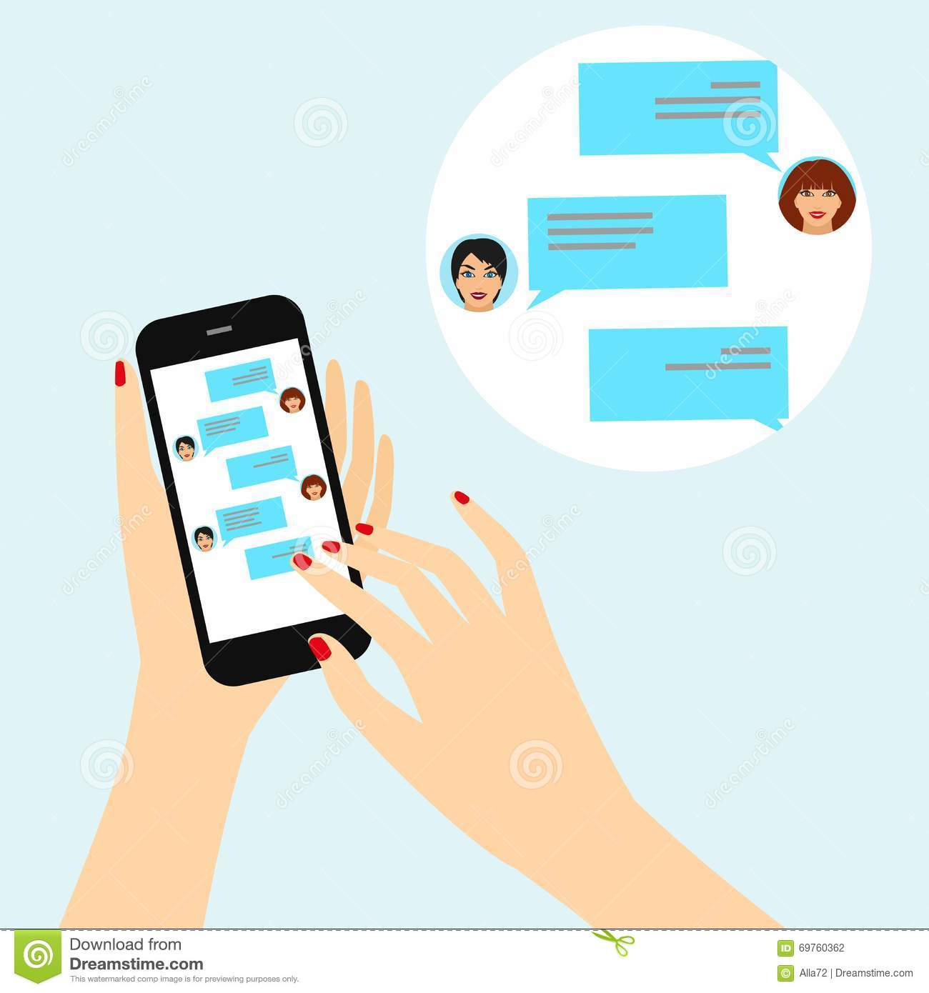 Instant Message People : Female hand holding a smart phone with chat on the