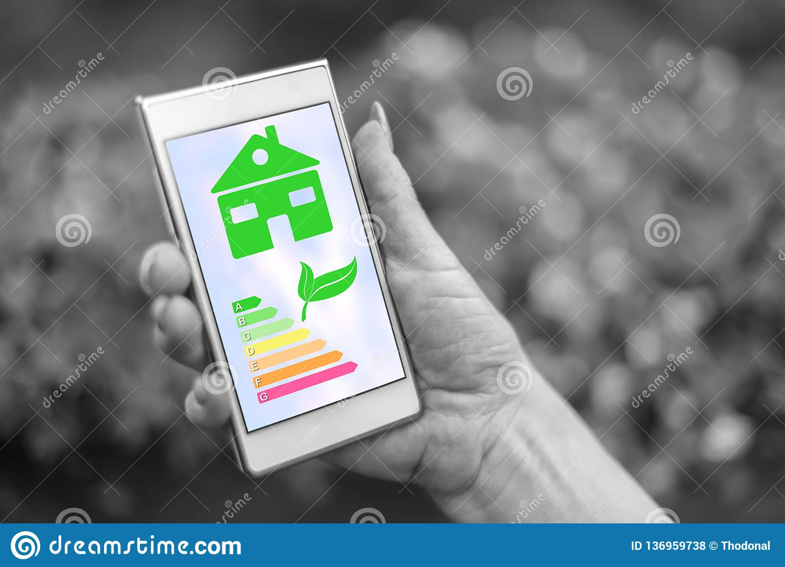 Home energy efficiency concept on a smartphone