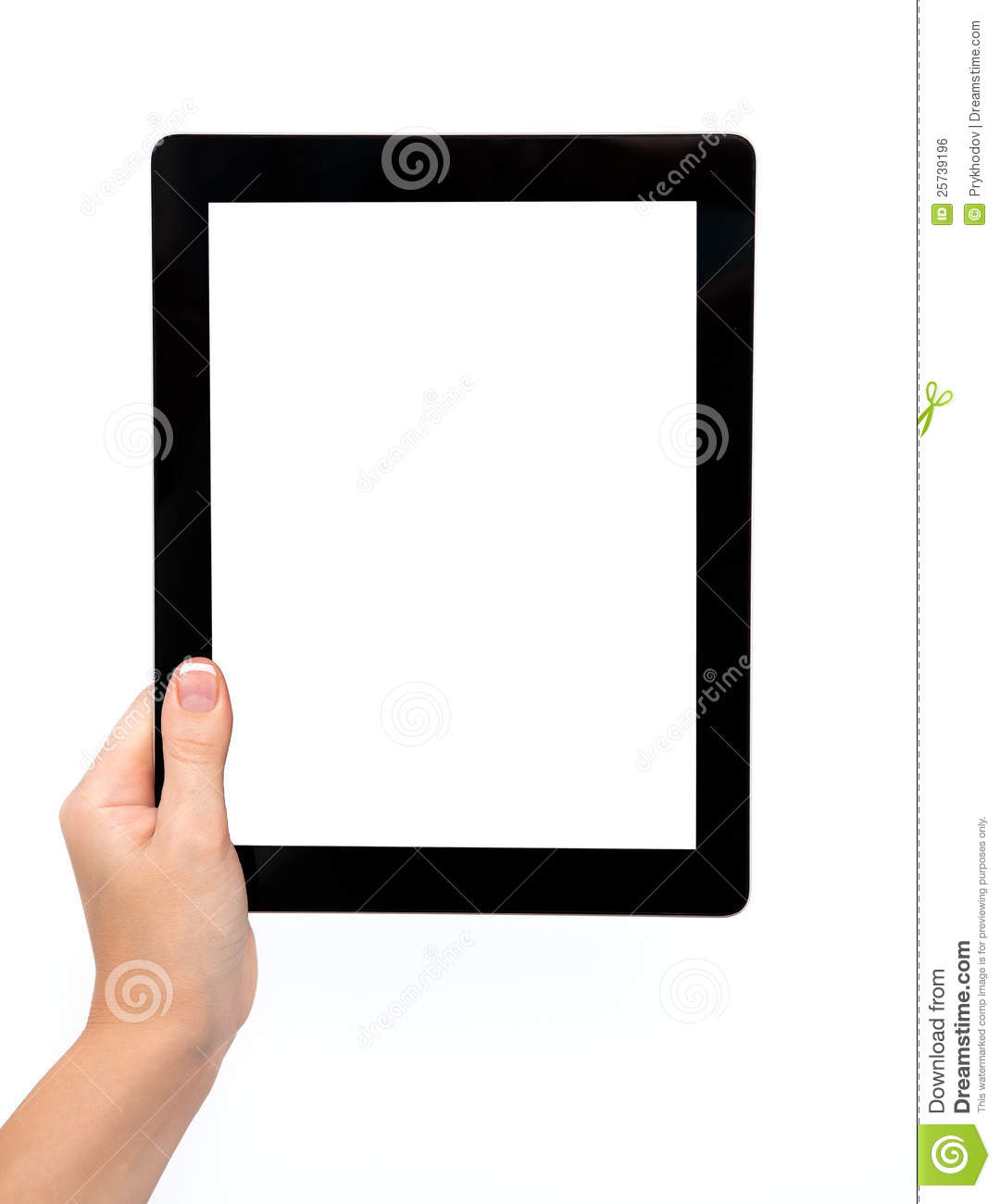 Female hand holding a tablet