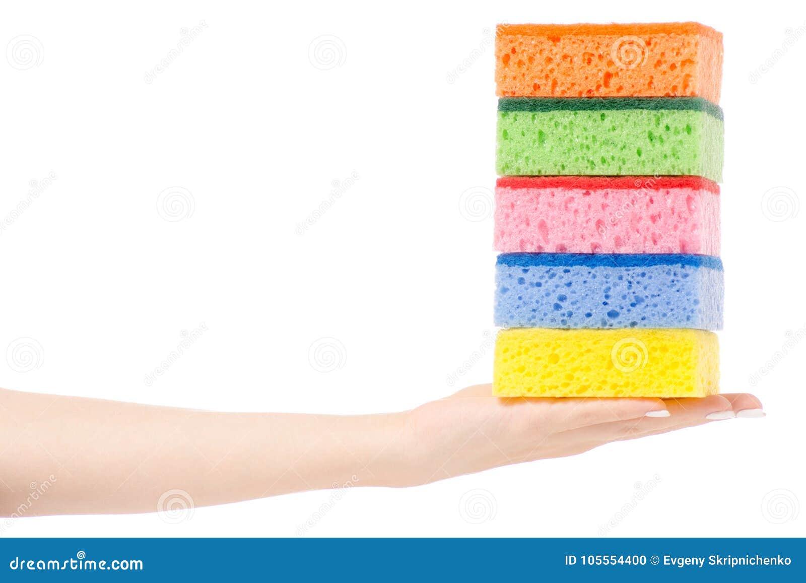 Female Hand Kitchen Dish Sponge For Washing Dishes Stock Photo ...