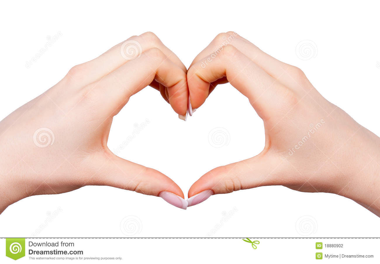 female hand making sign heart stock photography image