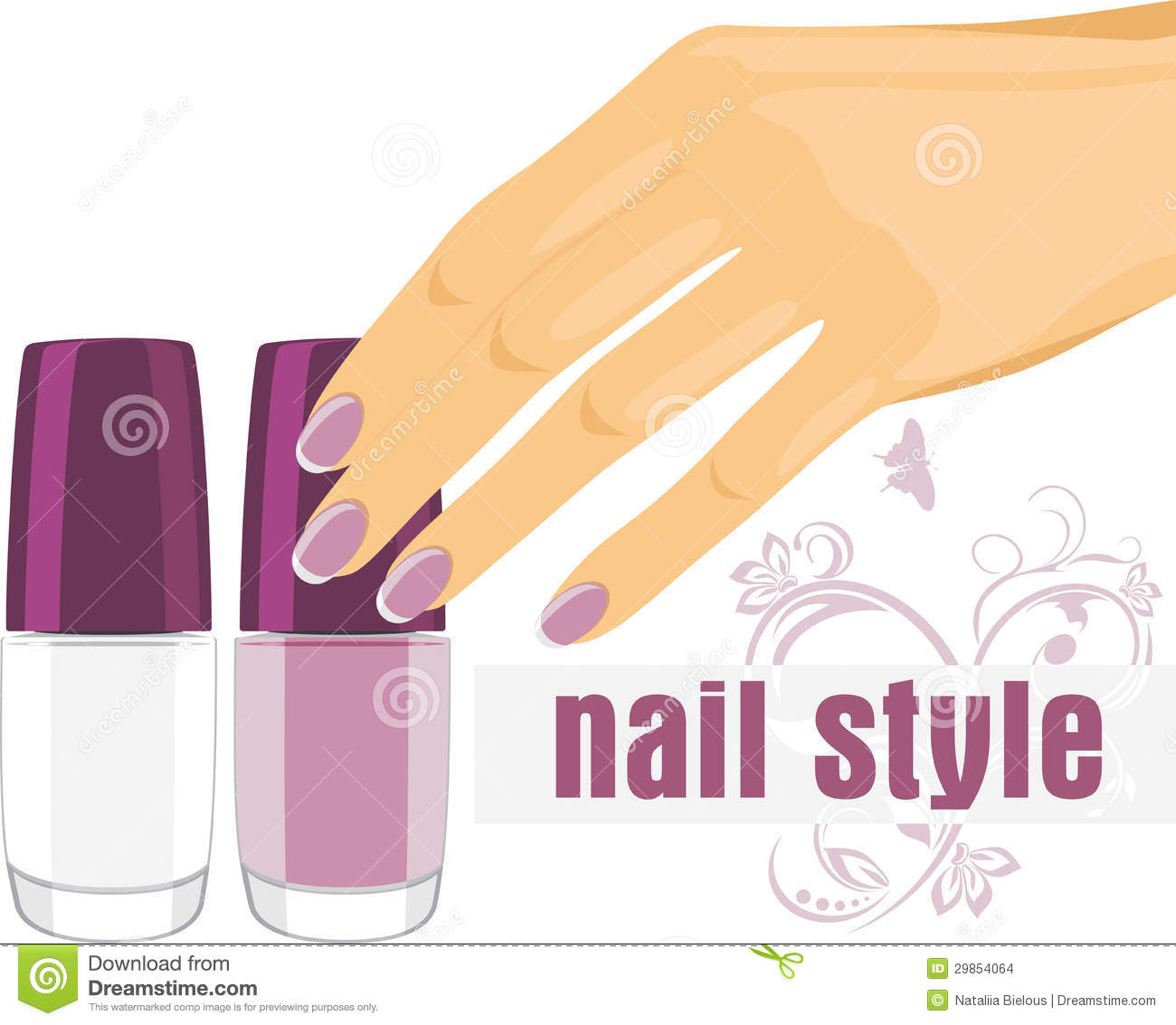 Female Hand With Manicure And Nail Polish Banner Stock Vector Illustration Of Beauty