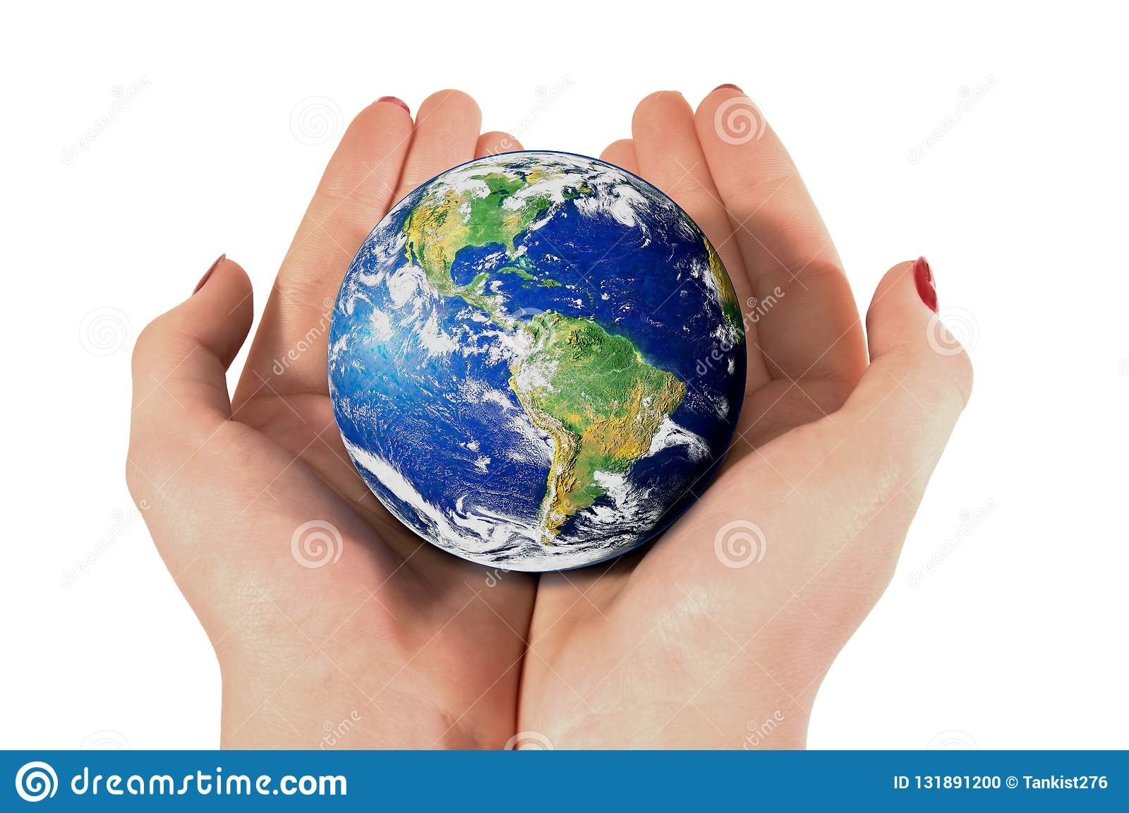 Female hand with planet Earth