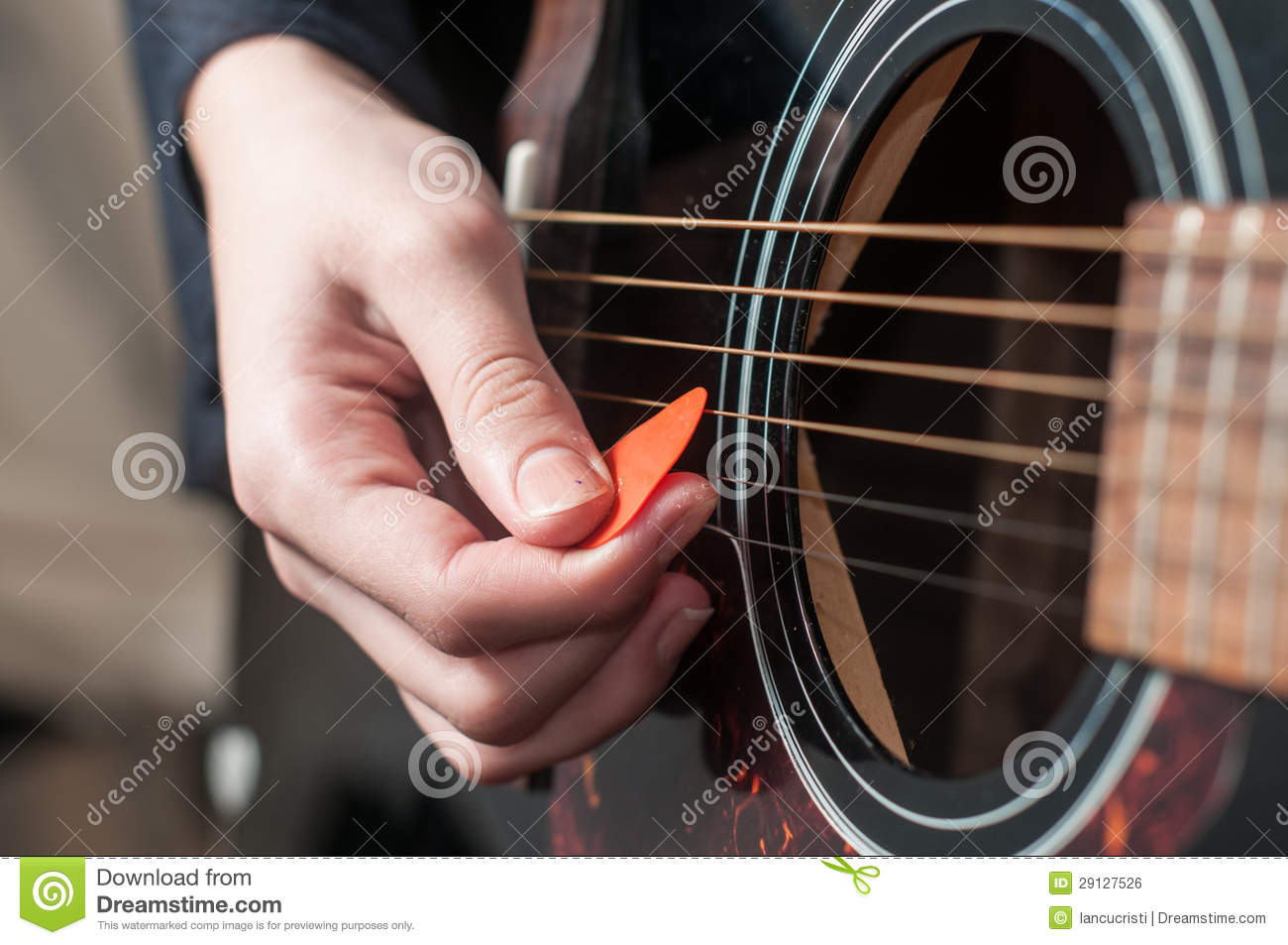 Female Hand Playing Acoustic Guitar Royalty Free Stock ...