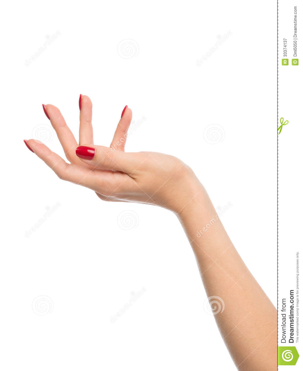 Free Manicure Beauty Hands Makeover: Female Hand With Red French Manicure Nails Royalty Free