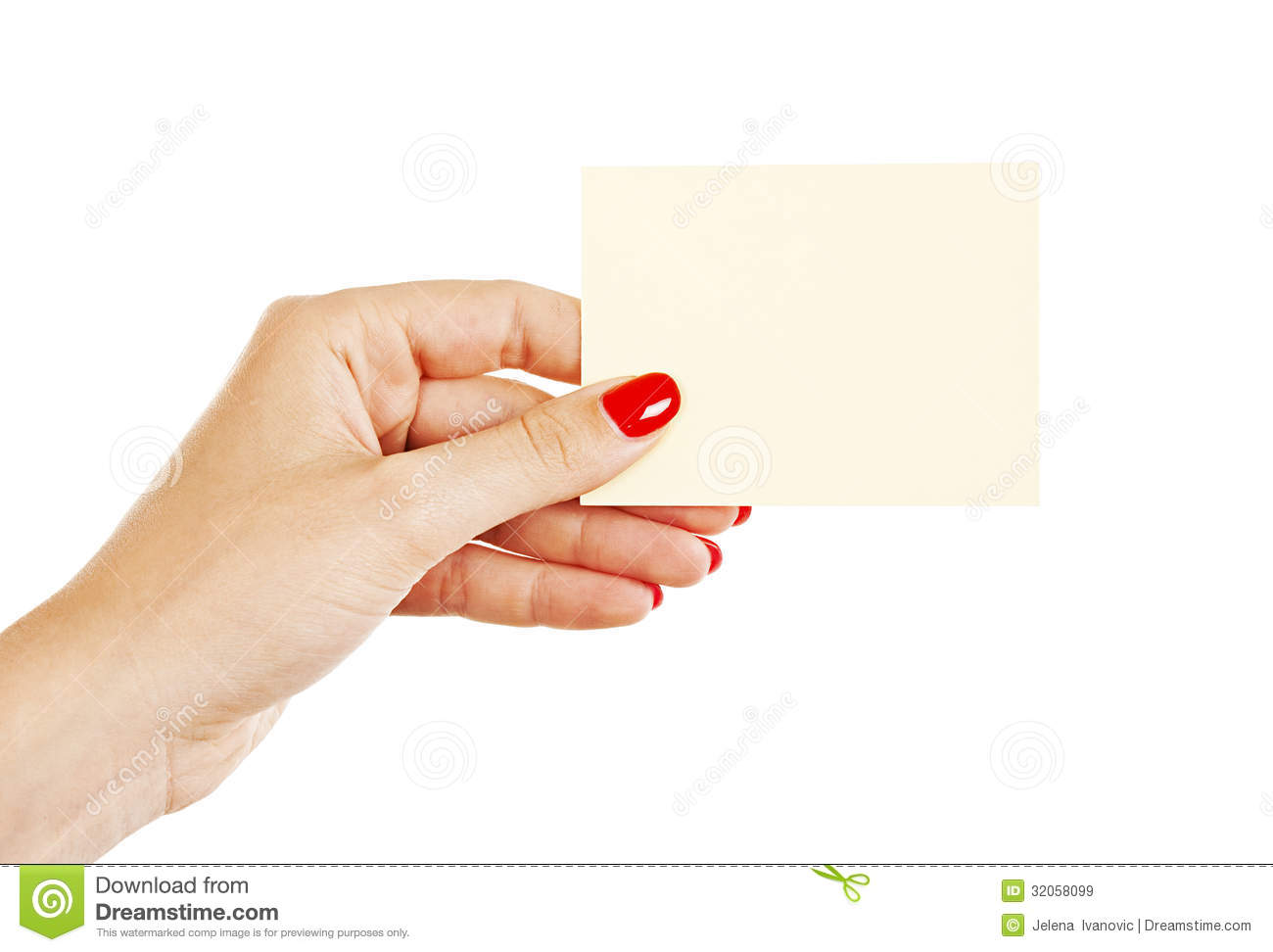 female hand with red nails holding a blank card stock image image