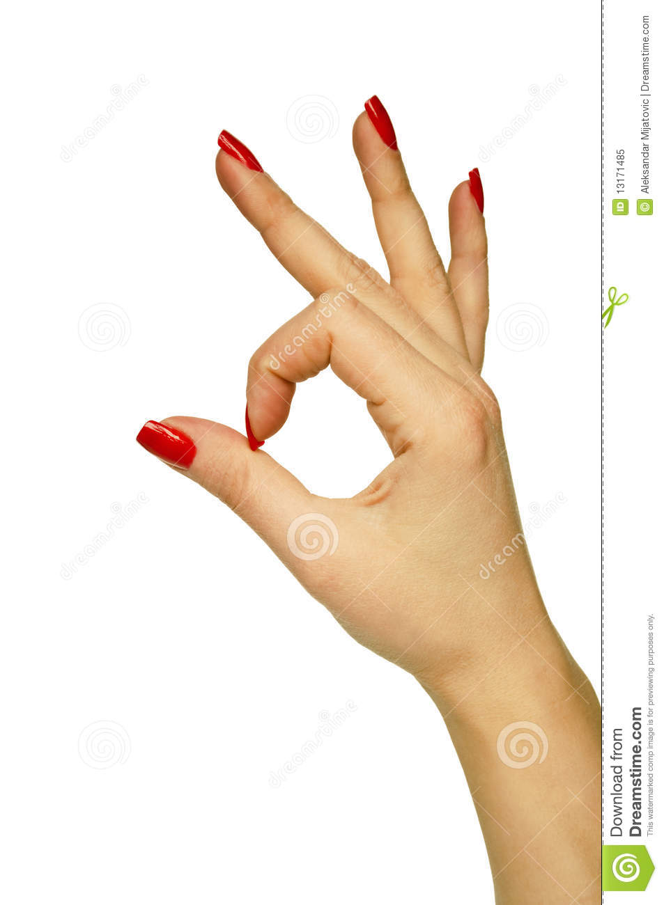 Female Hand Showing OK Sign Royalty Free Stock Photo - Image: 13171485
