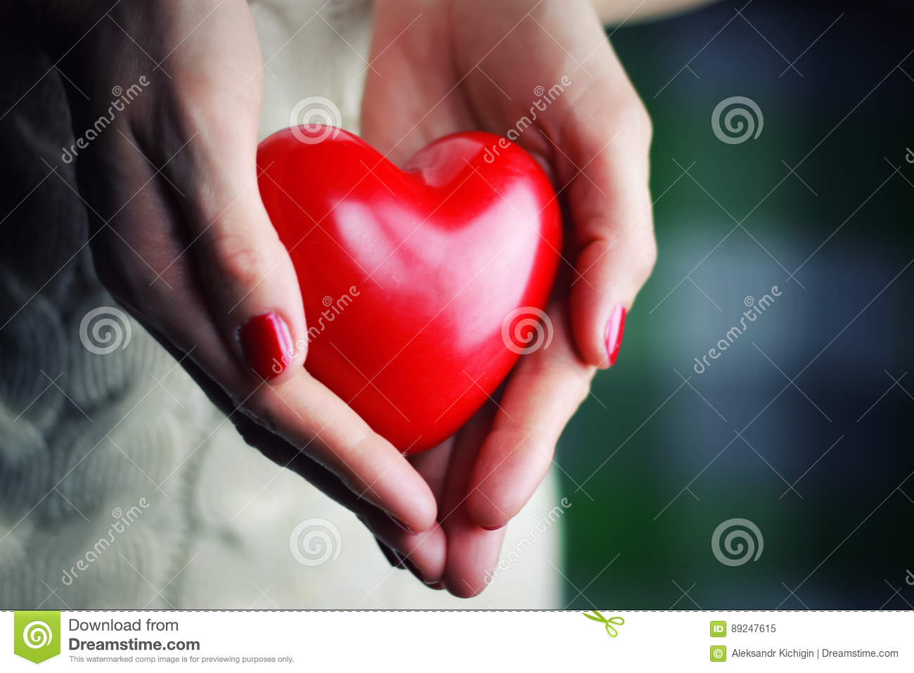 Female hand valentine heart