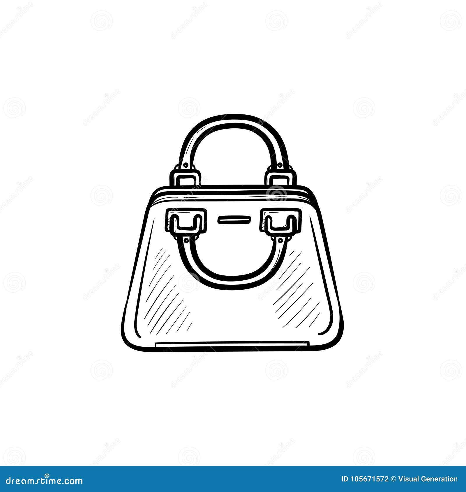 Female Handbag Hand Drawn Sketch Icon Stock Vector Illustration