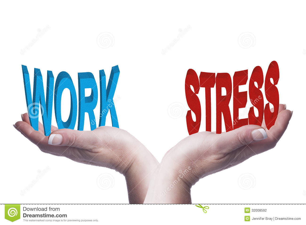 Female Hands Balancing Work And Stress 3D Words Conceptual Image Stock ...
