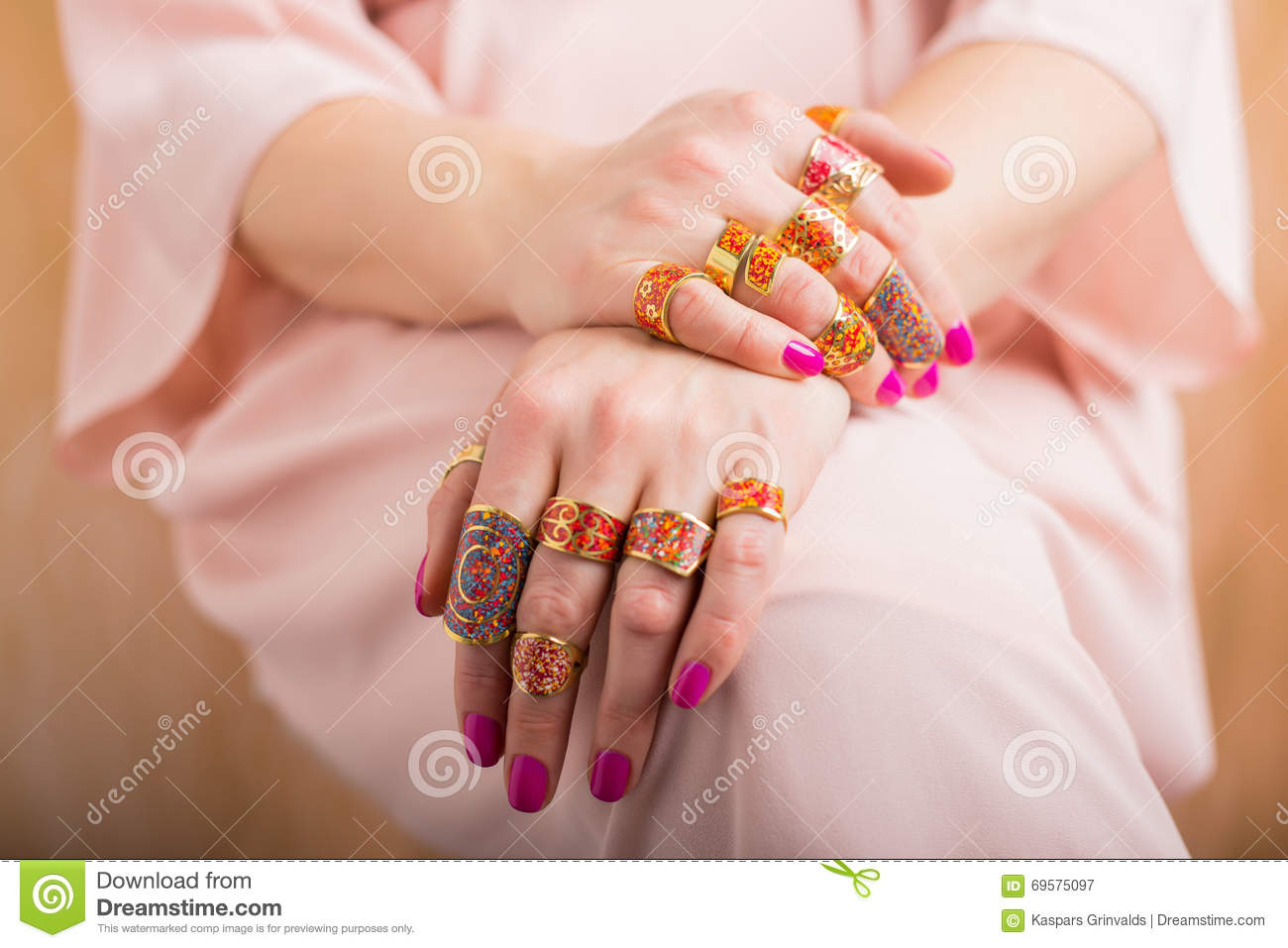 Female Hands With Beautiful Rings Stock Image - Image of golden ...