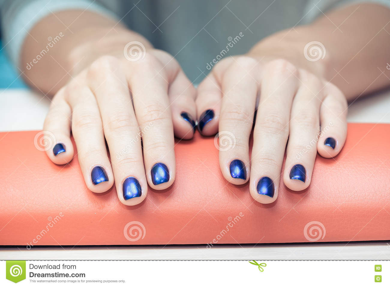 Female Hands With Blue Nail Polish, Close-up Stock Photo - Image of ...