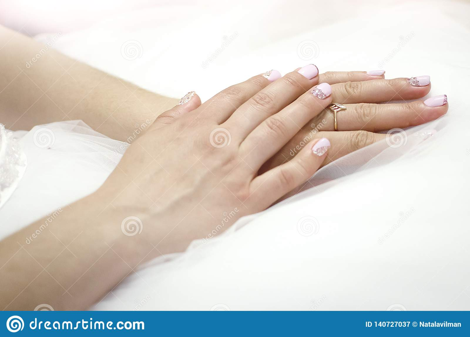 Female Hands Close Up With Wedding Ring On Finger Bride In