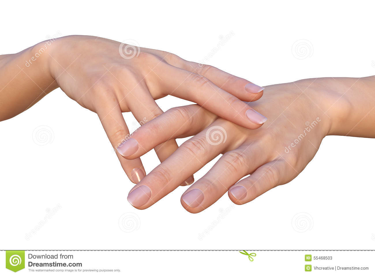 Female Hands With Crossed Fingers Are Touching Stock Photo
