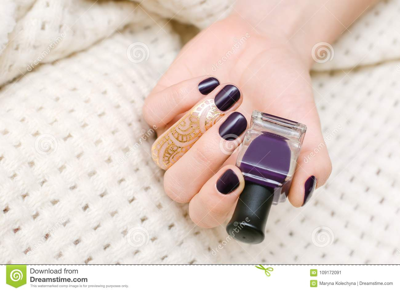 Female Hands With Dark Purple Nail Design Stock Image - Image of ...