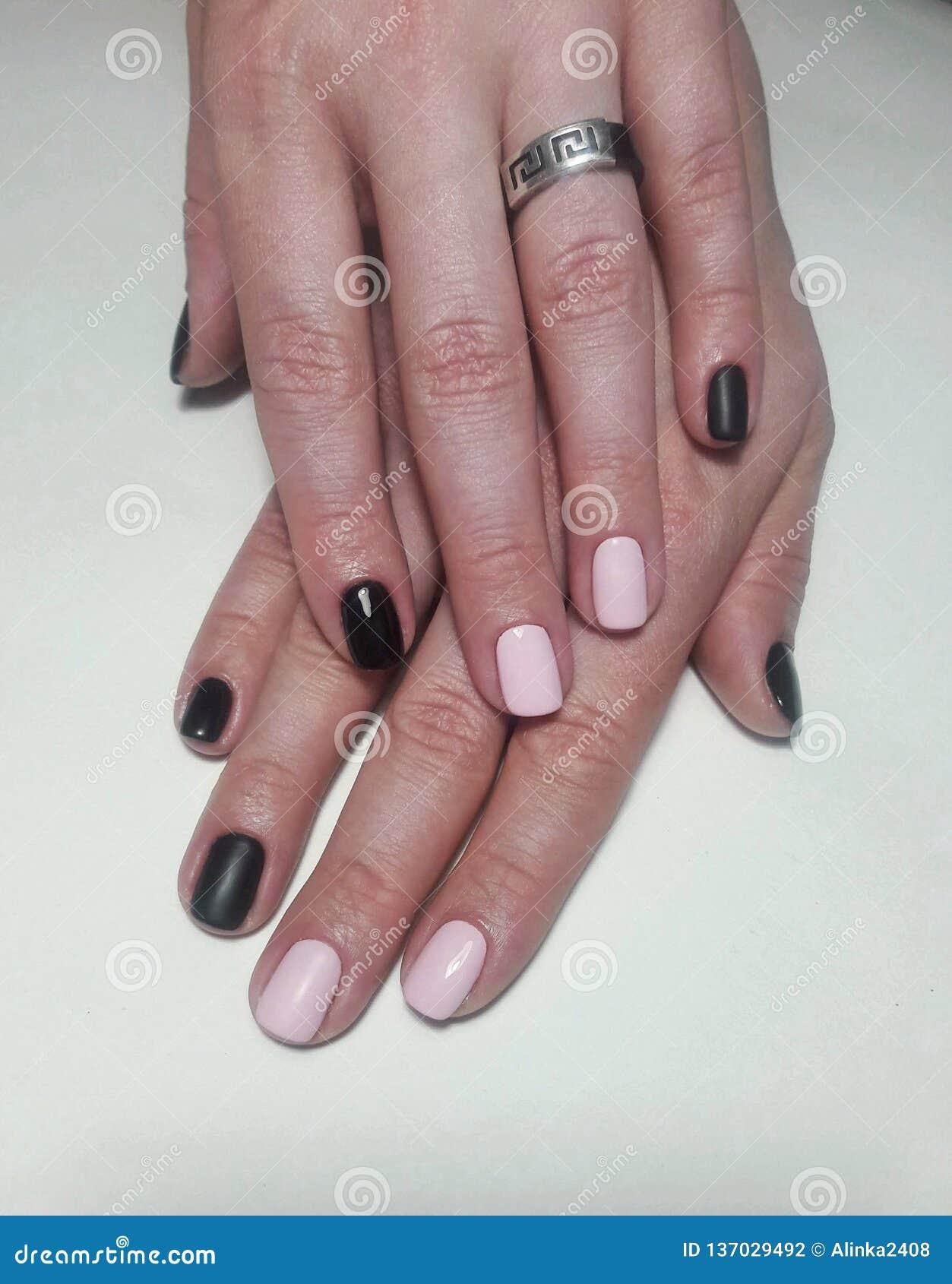 Manicure Black Pink Nail,glossy And Matt Finish Combined