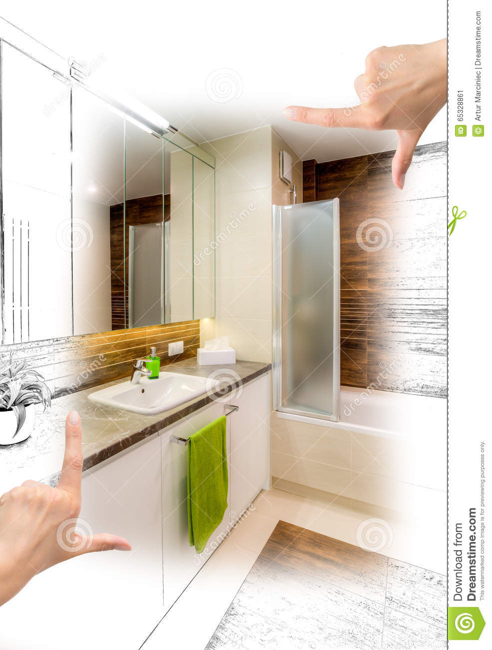 female hands framing custom bathroom design. stock illustration